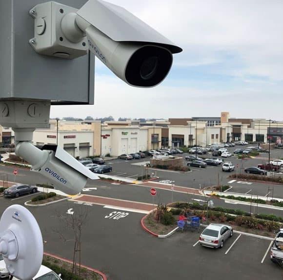 avigilon security camera in parking lot