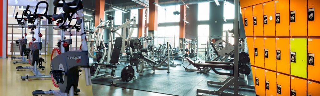 Gym, gym equipment, gym lockers.