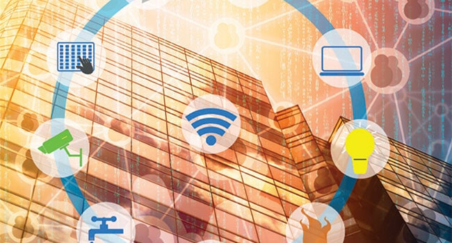 Commercial building cloud based technology icons.