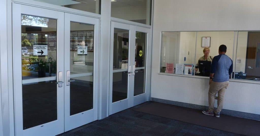 School main entrance visitor screening.
