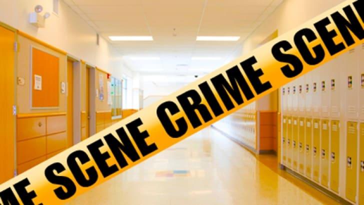 School hallway lockers crime.