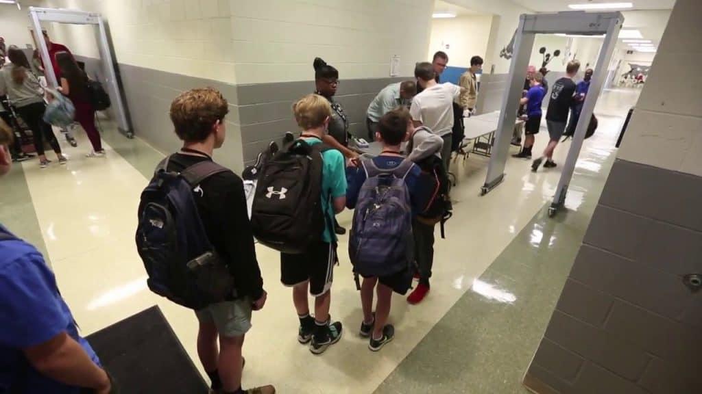 School metal detector line.